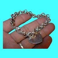 Vintage Sterling Link Bracelet Heart Charm
