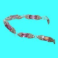 Vintage Sterling Link Bracelet Faux Pink Stones