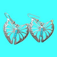 Vintage Sterling Butterfly Drop Earrings Turquoise