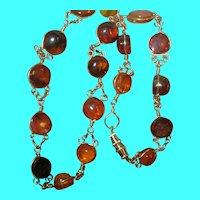 Vintage Sterling Vermeil Baltic Amber Link Necklace
