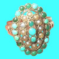 Victorian 10K Turquoise Saltwater Pearl Ring