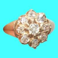Edwardian 18K Mine Cut White Diamond Ring