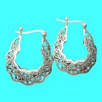 Vintage Sterling Hoop Earrings Open Work