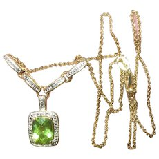 Vintage Sterling Vermeil Drop Necklace White Diamond and Peridot
