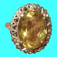 Vintage 10K Gold Ring Citrine