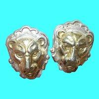 Vintage Sterling Vermeil Earrings Lion Head