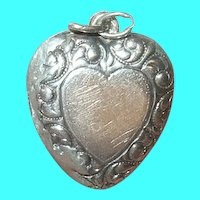 Vintage Sterling Puffy Heart Pendant Locket