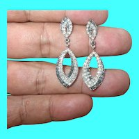 Vintage Sterling Drop Earrings Faux Stones