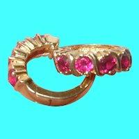 Vintage Sterling Vermeil Ruby Earrings
