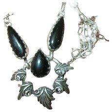 Vintage Sterling Pendant Drop Necklace Black Onyx
