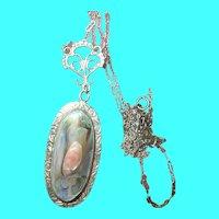 Vintage Sterling Necklace Mother of Pearl