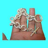 Vintage Sterling Link Bracelet Tassel