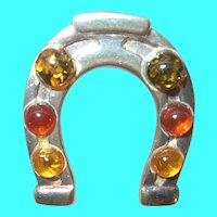 Vintage Sterling Amber Horseshoe Pendant
