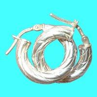 Vintage Sterling Silver Hoop Earrings Engraved