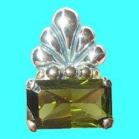 Vintage Sterling Silver Pendant Green Garnet