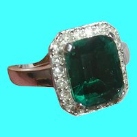 Vintage Sterling Silver Ring Faux Emerald