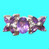 Vintage Sterling Amethyst Ring Flowers
