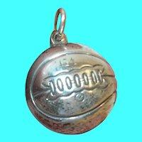 Vintage Sterling Silver Basketball Charm