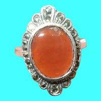 Vintage Sterling Ring Carnelian Marcasite