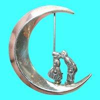 Vintage Sterling Crescent Moon