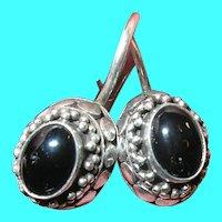 Vintage Sterling Black Onyx Earrings