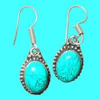 Vintage Sterling Turquoise Drop Earrings