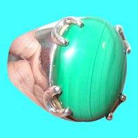 Vintage Sterling Ring Cabochon Malachite Stone