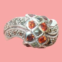 VIntage Sterling Ring Marcasite & Garnets