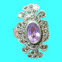 Vintage Sterling Ring Amethyst & Marcasite