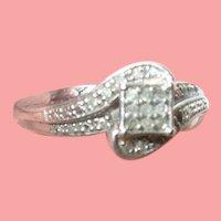 Vintage Sterling Diamond Ring