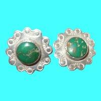 Vintage Sterling Turquoise Screw Back Earrings