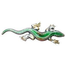 Vintage Sterling Enamel Lizard Brooch