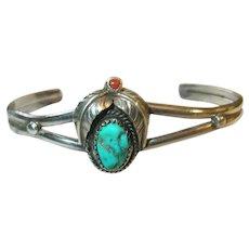 Vintage Sterling Cuff Bracelet Turquoise Coral