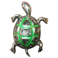 Vintage Sterling Enamel Turtle Brooch