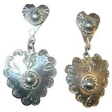Vintage Sterling Heart Drop Earrings by Taxco