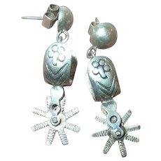 Vintage Sterling Silver Spur Earrings
