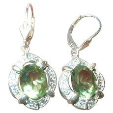 Vintage Sterling Dangle Earrings Faux Stones
