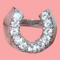 Vintage Sterling Horseshoe Ring Faux Diamonds
