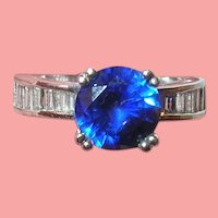 Vintage Sterling Ring Lab Created Sapphire