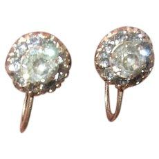 Vintage 10K Gold Earrings Paste Stones