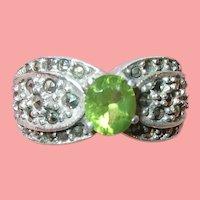 Vintage Sterling Peridot Marcasite Ring