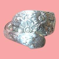 Vintage Sterling Ring Embossed Flowers