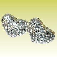 Vintage Sterling Earrings Heart Shaped Repousse Work