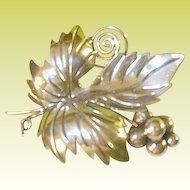 Vintage Sterling Taxco Brooch Grapes & Leaf