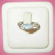 Vintage Sterling Ring Faux Aquamarine & Faux Diamonds