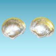 Vintage Sterling Earrings Sea Shell Design