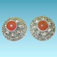 Vintage Sterling Carnelian Earrings