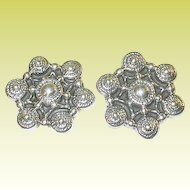 Vintage Sterling Earrings Repousse Work