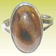 Vintage Sterling Ring Cabochon Moss Agate