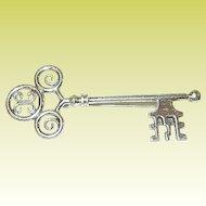 Vintage Dane Craft Sterling Skeleton Key Brooch